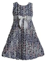 Bonnie Jean Little Girls' Satin Swiral Bonaz Dress, Silver, 6X [Apparel] Bonn... image 2