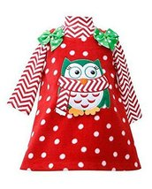 Bonnie Jean Little Girls 2T-6X Chevron Stripe Owl Applique Fleece Jumper Dres...