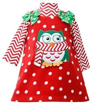 Bonnie Jean Little Girls 2T-6X Chevron Stripe Owl Applique Fleece Jumper Dres... image 2