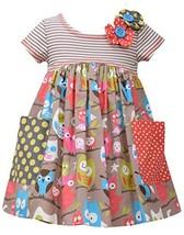 Little Girls 2T-4T Tan/Multi Stripe Knit To Novelty Owl Print Pocket Dress, B...