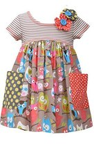Little Girls 4-6X Tan/Multi Stripe Knit To Novelty Owl Print Pocket Dress, Bo...