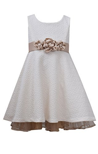 Little Girls Ivory Jacquard Rosette Waist Fit and Flare Dress, IO2BU, Ivory, ...