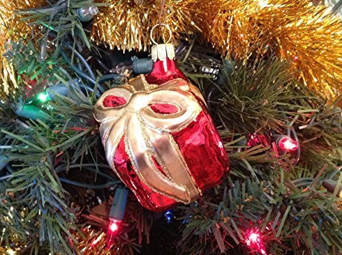 Shiny Red Gift Package W Gold Ribbon & Glitter Hand Painted Glass Ornament ...
