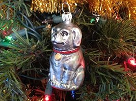 Silver Gray Dog Hand Painted Glass Ornament Old German Christmas