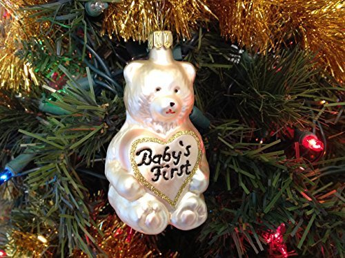Off White Bear Baby's First Christmas Hand Painted Glass Ornament ... [Kitchen]