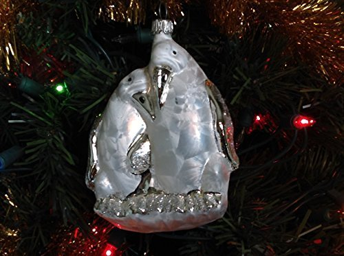 Pair of White Silver Penguins Hand Painted Glass Ornament [Kitchen]
