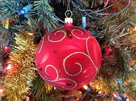 Red Ball with Gold Swirls Hand Painted Glass Ornament [Kitchen]