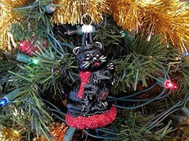 Black Cat W Red Ribbon Hand Painted Glass Ornament [Kitchen]