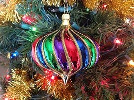 Gold with Multi Color Onion Hand Painted Glass Ornament ... [Kitchen]
