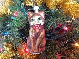 Brown Cat W Hand Painted Glass Ornament [Kitchen]