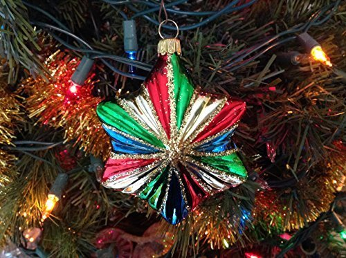 Gold with Multi Color Star Hand Painted Glass Ornament [Kitchen]