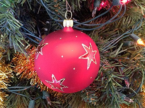 Red Star with Sparkle Hand Painted Glass Ornament ... [Kitchen]