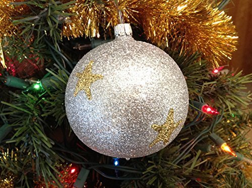 Silver Ball W Gold Stars Glittery Hand Painted Glass Ornament ... [Kitchen]