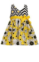 Little Girls Yellow Mix Chevron Daisy Halter Dress, Bonnie Jean, Yellow, 2T