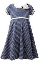 Little Girls 2T-4T Blue/White Wave Texture Knit Fit and Flare Dress, Bonnie J...
