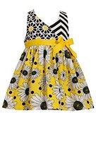 Little Girls Yellow Mix Chevron Daisy Halter Dress, Bonnie Jean, Yellow, 4T