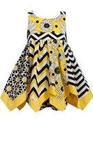 Baby-Girls 3M-24M Yellow Mix Print Hanky Hem Dress (3-6 Months, Yellow/Multi)
