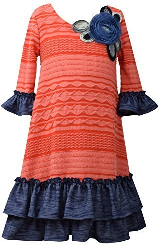 Little Girls Orange Blue Bell Sleeve Texture Knit Dress, Bonnie Jean, Orange, 6X
