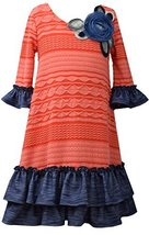 Little Girls Orange Blue Bell Sleeve Texture Knit Dress, Bonnie Jean, Orange, 6X