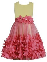 Coral Yellow Knit to Flutter Die Cut Floral Border Mesh Dress CO3BU, Coral, B...