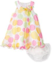 Bonnie Baby Baby Girls' Crystal Pleat Mesh Dress with Large Multi Dots, Green...