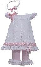 Little-Girls 2T-6X White Pink Embroidered Eyelelet Dress/Legging Set (2T, Pink)