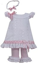 Little-Girls 2T-6X White Pink Embroidered Eyelelet Dress/Legging Set (3T, Pink)