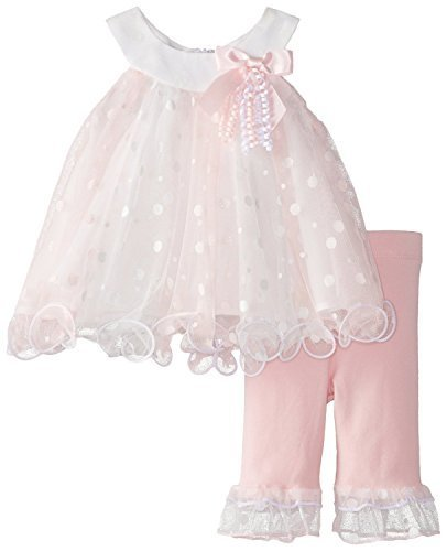 Baby-Girls INFANT 12M-24M Glitter Dot Colorblock Trapeze Mesh Dress/Legging S...
