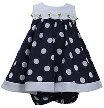 Baby Girls Blue White Nautical Resort Polka Dot Trapeze Dress, Navy, 6/9M