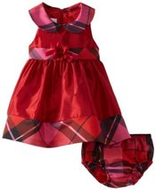 Bonnie Baby Baby-Girls Newborn Shantung with Plaid Trim Dress RD0SA, Red image 2