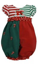Bonnie Jean Baby Girls 3M-24M Red Green ColorBlock Candy Cane Romper (3/6M, Red) image 2