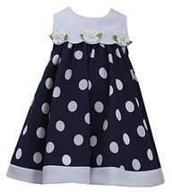 Blue White Nautical Resort Polka Dot Trapeze Dress, NV2BU, Navy, Bonnie Jean,...