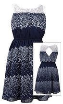 Tween Big Girls 7-16 Navy-Blue Colorblock Dot Print Illusion Lace Chiffon Dre...