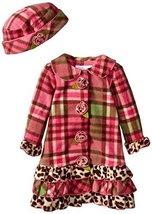 Little Girls Coral Plaid Tier Ruffle Border Fleece Coat/Hat Set (4T, Coral)