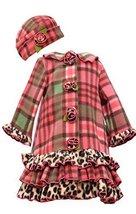 Little Girls Coral Plaid Tier Ruffle Border Fleece Coat/Hat Set, W3-TDLG-WIN1...