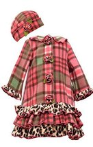 Little Girls Coral Plaid Tier Ruffle Border Fleece Coat/Hat Set, W3-TDLG-WIN1...