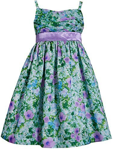 Little-Girls Lavender-Purple Green Floral Criss Cross Shantung Dress, LV3SA, ...
