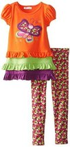 Bonnie Jean Little Girls' Butterfly Applique Legging Set, Orange, 6X [Apparel]