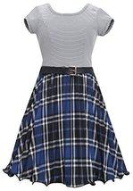 Bonnie Jean Big Girls Blue Metallic Plaid Crystal Pleat Belted Dress (7, Royal) image 2
