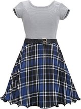 Little Girls 4-6X Blue Metallic Plaid Crystal Pleat Belted Dress, RY3BU, Roya...