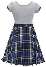 Bonnie Jean Little Girls Blue Metallic Plaid Crystal Pleat Belted Dress (4, R... image 1