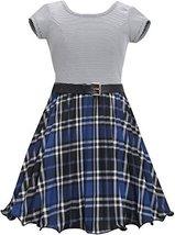 Bonnie Jean Little Girls Blue Metallic Plaid Crystal Pleat Belted Dress (4, R... image 2