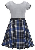 Bonnie Jean Little Girls Blue Metallic Plaid Crystal Pleat Belted Dress (5, R...