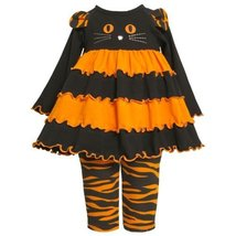 Size-3/6M BNJ-3652B 2-Piece ORANGE BLACK Cat Face Tiered Purl Edge Colorblock...