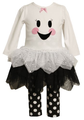 Bonnie Baby-girls Newborn Ghost Face To Tulle Skirt and Knit Top with Legging...