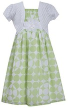 Big Girls Tween Green White Dot Print Chiffon Dress/Jacket Set (10, Green)