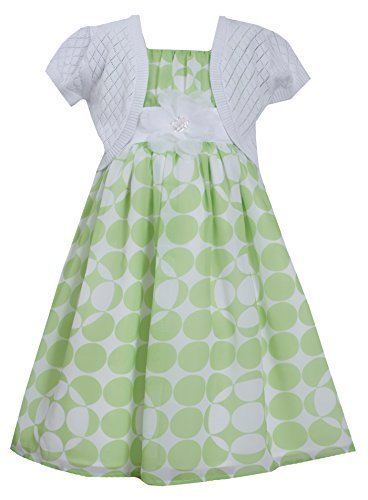 Big Girls Tween Green White Dot Print Chiffon Dress/Jacket Set (12, Green)