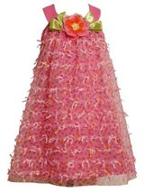 Pink Flutter Bow and Floral Printed Mesh Overlay Dress PK3SI, Bonnie Jean Gir...