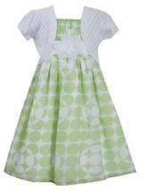 Big Girls Tween Green White Dot Print Chiffon Dress/Jacket Set (14, Green)