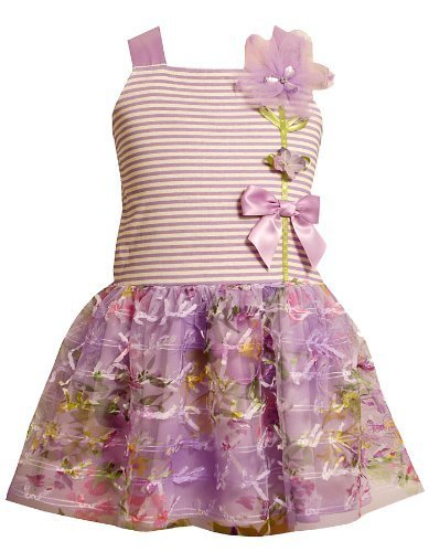 Bonnie Jean Girls 2T-6X Lavender-Purple Striped Knit to Novelty Bow Printed M...